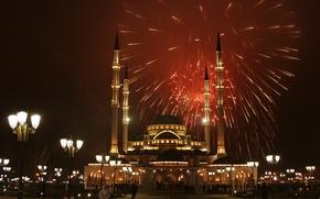 Обои Чечня, Грозный, праздник, салют, мечеть