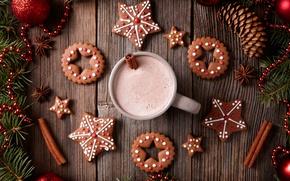 Картинка Новый Год, печенье, Рождество, Christmas, выпечка, Xmas, глазурь, какао, cookies, decoration, gingerbread, Merry