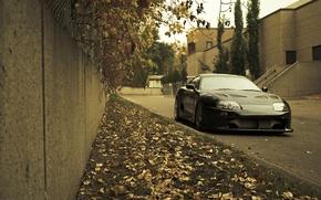 Картинка осень, трава, листья, city, город, газон, Toyota, cars, auto, Toyota Supra, wallpapers auto, обои авто, …
