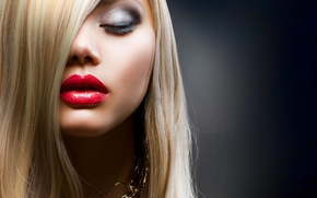 Обои hair, blonde, makeup, lips