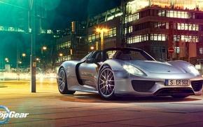 Картинка Ночь, Porsche, Top Gear, 918, Суперкар, Night, Топ Гир, Spider, Supercar, Высшая Передача