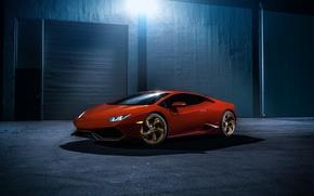 Картинка LB724, red, Lamborghini, ночь, front, LP 610-4, Huracan