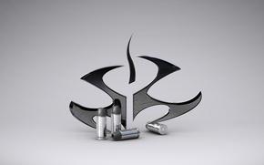 Картинка символ, Hitman, эмблема, серый фон, патроны, гильзы, Хитмэн