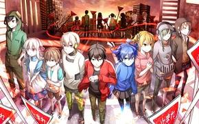 Картинка закат, город, девушки, дома, аниме, наушники, знаки, арт, плеер, парни, konoha, kagerou project, tateyama ayano, ...