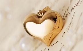 Картинка письмо, макро, сердце, кулон, сердечко, золотое