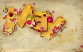 Картинка бабочки, цветы, буквы, Май