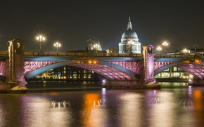 Картинка ночь, мост, огни, река, Лондон, Собор, Святого, Темза, Павла
