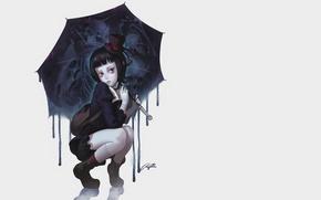 Картинка девушка, готика, рисунок, череп, зонт, аниме, арт, скелет, зомби, девочка, skull, girl, zombie, шляпка, красные …