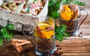 Обои Xmas, Новый Год, чай, Merry, gingerbread, печенье, глазурь, Рождество, Christmas, cookies, decoration