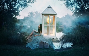 Картинка озеро, девушка, книга, Alexandra Cameron