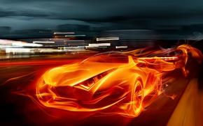 Картинка машина, огонь, пламя, спорт, супер