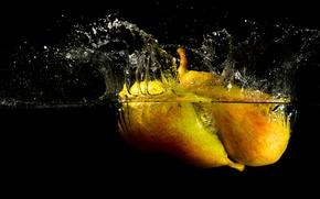 Картинка вода, брызги, всплеск, груша, фрукты, плод
