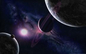 Картинка космос, звезды, свет, обои, планеты, свечение, картинка