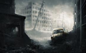 Картинка машина, город, дождь, остов, арт, руины, постапокалипсис