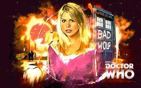 Картинка взгляд, девушка, лицо, розовый, волосы, актриса, блондинка, певица, будка, кофта, Doctor Who, Доктор Кто, ТАРДИС, …