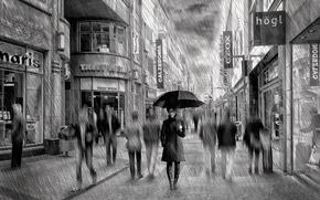 Картинка дождь, улица, зонт, арт, Lady Rain