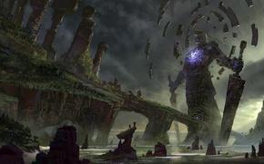 Картинка море, камни, люди, скалы, магия, меч, существо, арт, гигантское, вызов, oyo