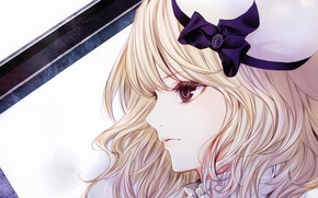 Картинка светлые волосы, бант, девушка, шляпка, Kiyohara Hiro, art
