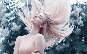Картинка девушка, поза, розовые волосы