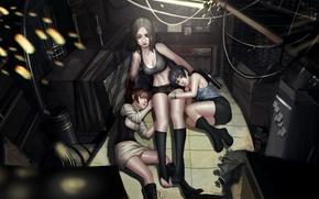 Картинка оружие, девушки, отдых, провода, арт, искры