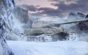 Картинка зима, снег, горы, оружие, Игры, game, Танк, weapon, mountains, snow, world of tanks, tank, Мир …