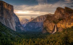 Картинка лес, небо, горы, водопад, hdr, ациональный парк Йосемити