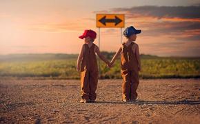 Картинка дорога, дети, стрелка, указатель, направление