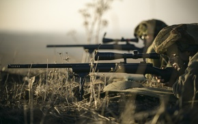 Картинка трава, оружие, солдаты, оптика, винтовка, снайперская, снайпера