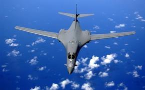 Картинка Небо, Вода, Облака, Океан, Самолет, Полет, Высота, Бомбардировщик, Сверхзвуковой, Стратегический, Rockwell, B-1 Lancer