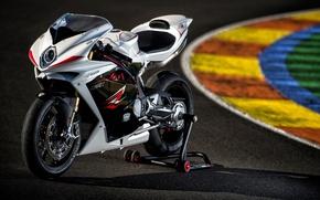 Картинка белый, мотоцикл, white, суперспорт, трек, MV Agusta