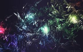 Картинка темнота, взрывы, свечение, dark, glow, обои на рабочий стол, картинки для рабочего стола, слияние, проблески, ...