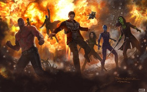 Картинка cinema, explosion, fire, girl, sword, gun, pistol, armor, weapon, woman, alien, man, movie, ken, tatoo, ...