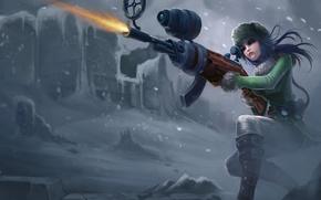 Обои зима, девушка, снег, оружие, стрельба, league of legends, Caitlyn officer