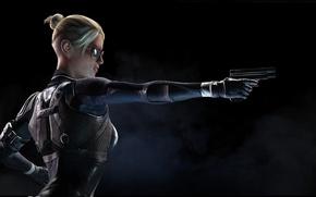 Картинка пистолет, очки, Mortal Kombat X, Cassie Cage, Смертельная битва 10, Кэсси Кейдж