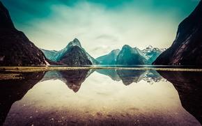 Обои Новая Зеландия, отражение, Природа, горы, New Zealand