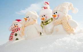 Картинка зима, снег, снеговик, шапки