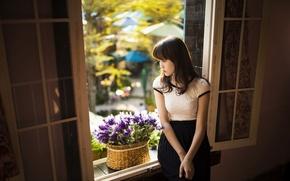 Картинка лето, девушка, настроение, окно, азиатка