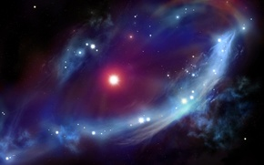 Картинка космос, туманность, звёзды, яркость