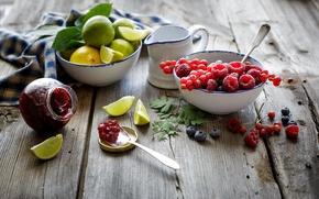 Картинка ягоды, малина, лимон, черника, ложка, лайм, фрукты, красная, цитрусы, смородина, джем, варенье, баночка