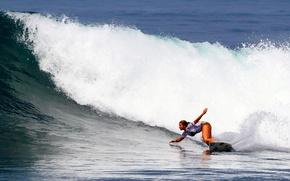Обои волна, серфинг, доска, surfing, девушка
