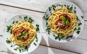 Обои meat, dishes, spaghetti
