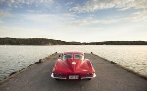 Картинка озеро, Corvette, Chevrolet, пирс, сзади, Sting Ray, 1963, задние фонари