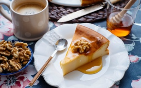 Картинка кофе, мед, пирог, ложка, чашка, орехи, десерт