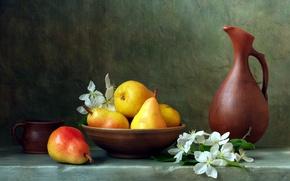 Картинка чаша, кружка, кувшин, цветочки, груши