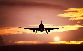 Картинка солнце, пейзаж, закат, самолет, силуэт