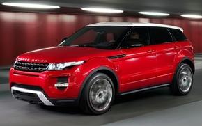 Картинка машина, авто, красный, land rover, range rover, кроссовер, эвок, evoque, рэйндж, лэнд, ровер