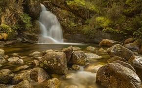 Картинка Австралия, Виктория, водопад, поток, гора Буффало, камни