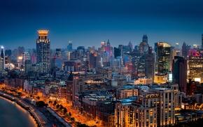 Картинка China, здания, панорама, Китай, Shanghai, Шанхай, ночной город, набережная, Хуанпу, Huangpu