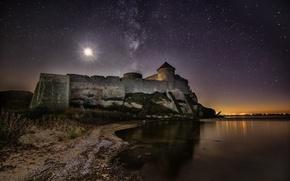 Картинка ночь, луна, звёзды, Украина, Аккерман, Днестровский лиман, Белгород-Днестровская крепость