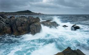 Обои океан, скалы, побережье, Канада, Canada, Атлантический океан, Atlantic Ocean, остров Кейп-Бретон, Cape Breton Island